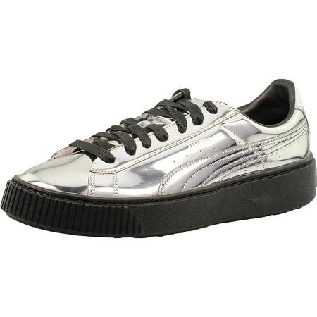 buy popular 02253 71612 PUMA - Puma Women's Basket Platform Metallic Silver/Silver ...