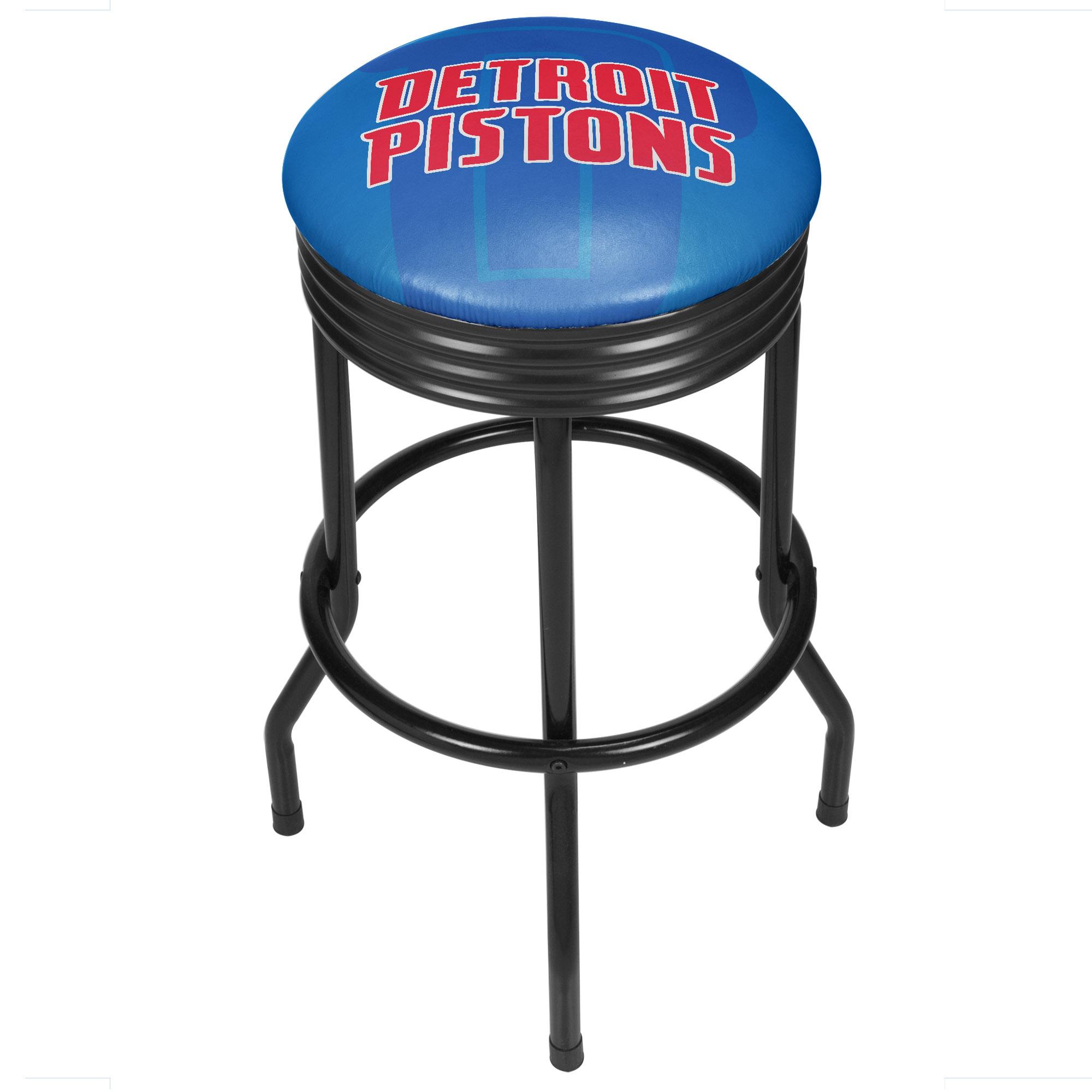 NBA Black Ribbed Bar Stool - Fade - Detroit Pistons