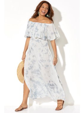 Swimsuits For All Women's Plus Size Portia Bandeau Cover Up Maxi Dress
