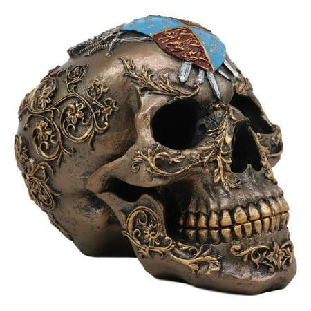 Ebros Knights of Templar Medieval Heraldry Shield Crest with Swords Skull Statue Crusader Knight Royal Floral Filigree Pattern Halloween Macabre Spooky Decor Skeleton Cranium Figurine Skulls Tombs](Skeleton Knight)