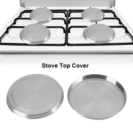 WALFRONT 4Pcs/Set Stainless Steel Kitchen Stove Top Burner Covers Cooker Protection , Stove Top Cover, Kitchen Stove Cover (Stove Top Protection)