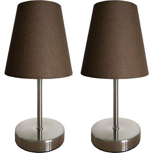 Simple Designs Sand Nickel Mini Basic Table Lamp with Fabric Shade 2-Pack Set