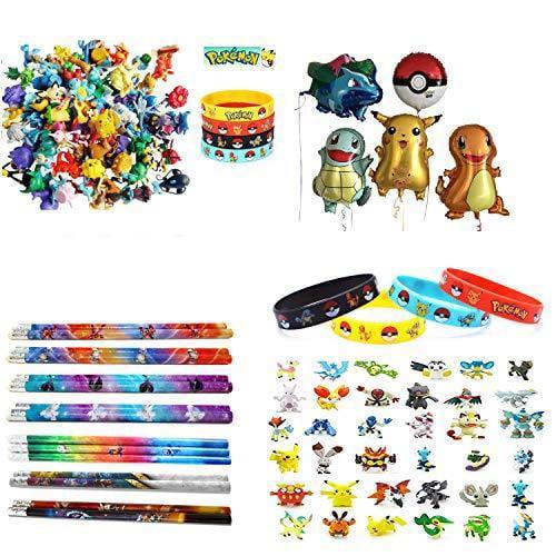Pokemon Theme Party Decorations Supplies Bundle Favors Pack-24 Mini Action Figures,12 Bracelets, 5 Party Balloons and 12 Pencils for Kids & Adult Party Celebration