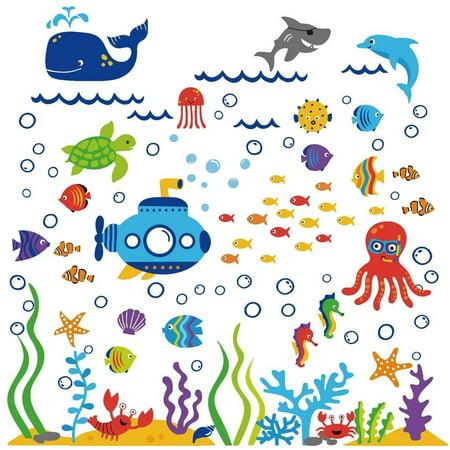 The Deep Blue Sea Decorative Peel & Stick Wall Art Sticker Decals, Pre-cut, Peel & stick By CherryCreek Decals