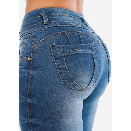 Womens Skinny Jeans Mid Rise Butt Lifting Levanta Cola Med Wash Denim Jeans 10428D