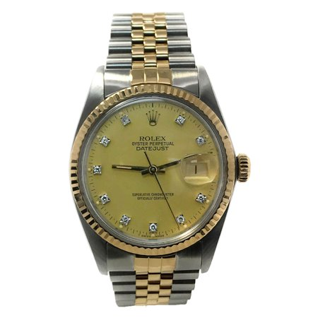 Datejust 16013 Champgne Diamond dial and 18kt Yellow Gold Bezel (Certified Pre-Owned) 18kt Yellow Gold Diamond Bezel