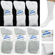 6 Pairs Diabetic Crew Circulatory Socks Health Support Cotton Loose Fit Sz 10-13