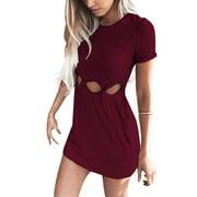 Women's Round Neck Short Sleeve Irregular Tights Stretch Bag Hip Mini Dress