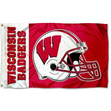 Wisconsin Badgers Football Helmet 3' x 5' Pole (Wisconsin Badgers Runner)