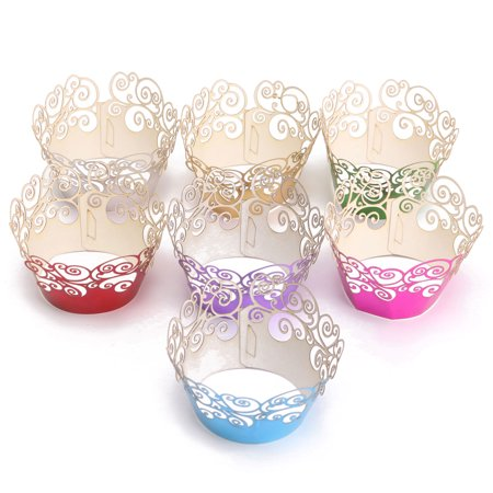 12pcs Pearly Cloud Filigree Vine Cupcake Wrappers Wrap Case Wedding Party