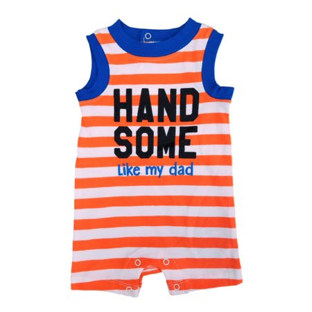 818f6dd09ff4 Infant Boys Handsome Like My Dad Orange   White Striped Baby Romper -  Walmart.com