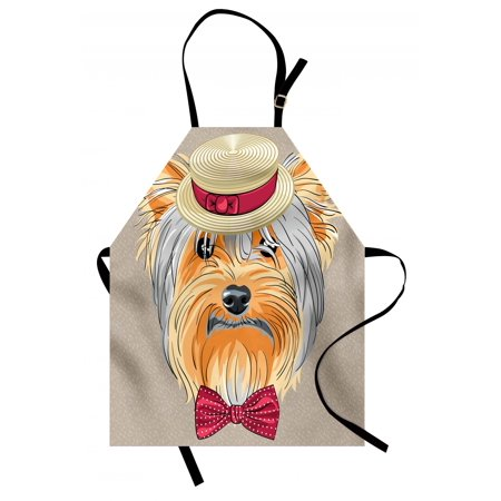 Yorkie Apron Hipster Yorkie with Cute Straw Boater and Bow Tie Hand Drawn Gentleman Dog, Unisex Kitchen Bib Apron with Adjustable Neck for Cooking Baking Gardening, Apricot Multicolor, by - Cute Straws