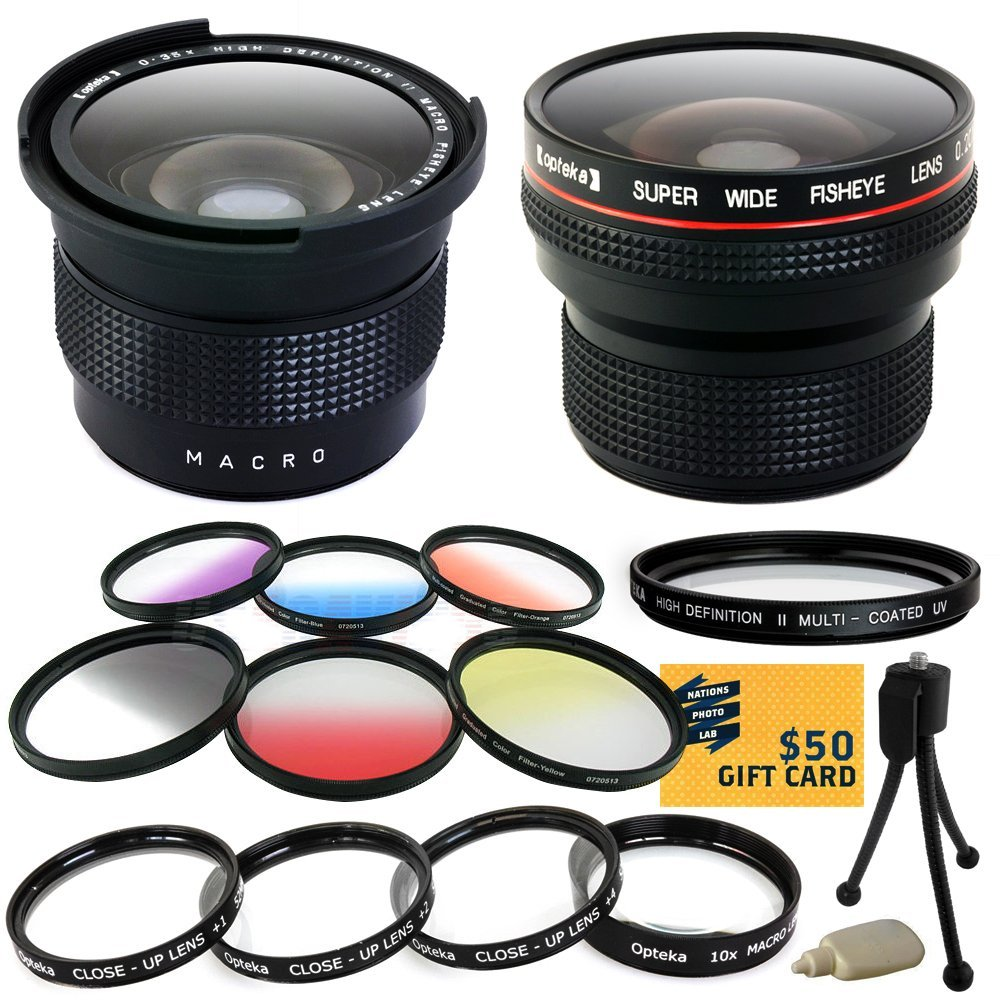 Opteka Pro .20x + .35x Fisheye Lens + Uv Filter + Close U...