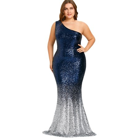 One Shoulder Sleeveless Sequined Bodycon Mermaid Hem Plus Size Dress For  Women