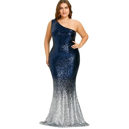 One Shoulder Sleeveless Sequined Bodycon Mermaid Hem Women Plus Size Dresses