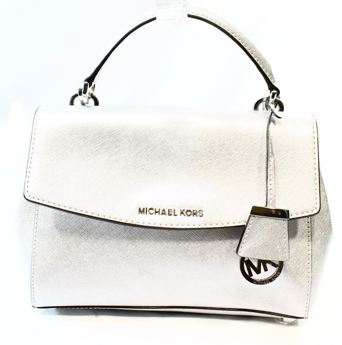 Michael Kors NEW Silver Saffiano Ava Top Handle Satchel B...