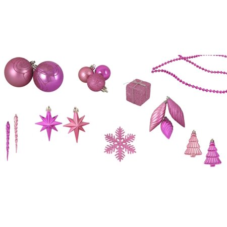 Pink Christmas Ornaments.125 Piece Club Pack Of Shatterproof Bubblegum Pink Christmas Ornaments