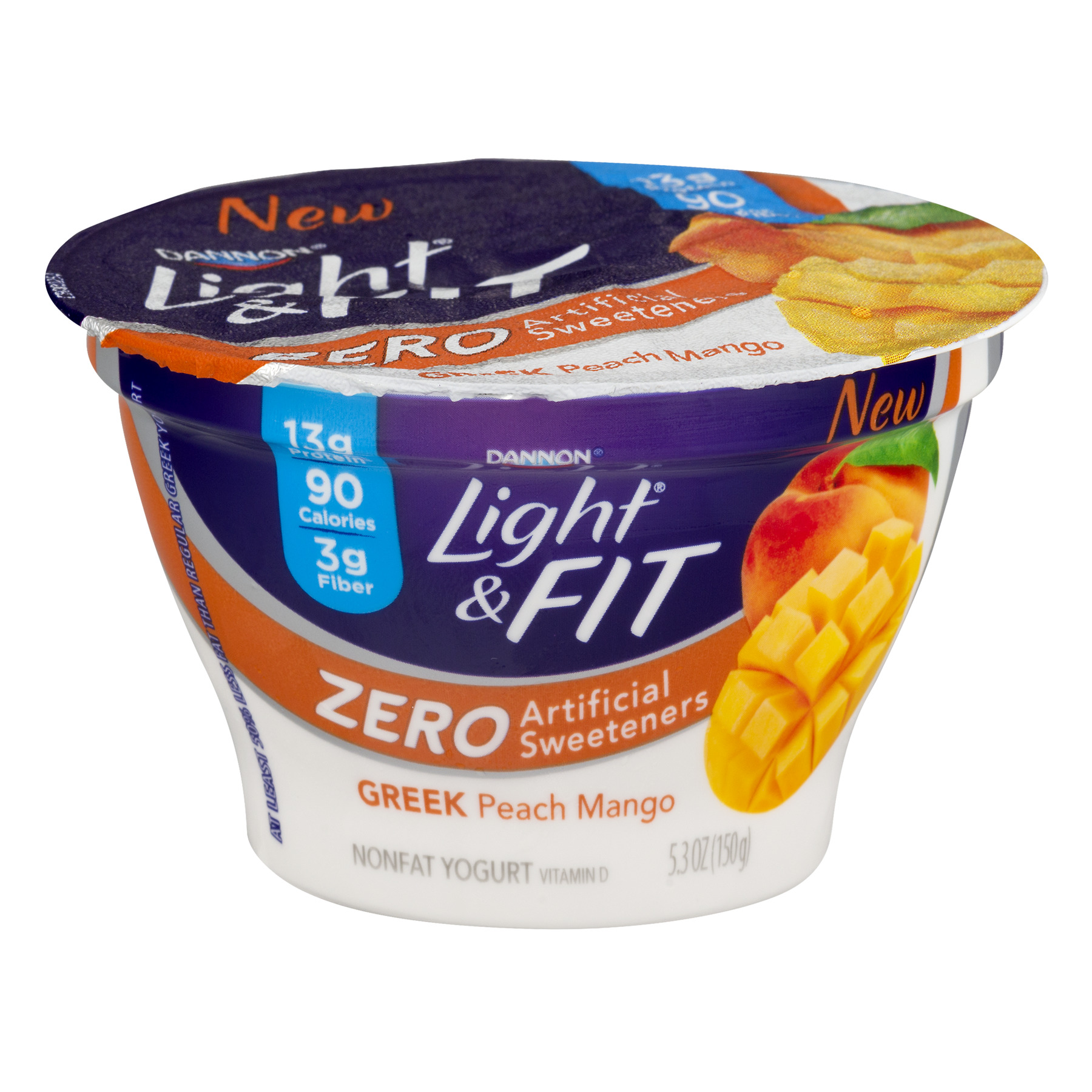 Dannon® Light & Fit® Greek Zero Artificial Sweeteners Nonfat Yogurt Peach Mango 5.3oz Single Serve