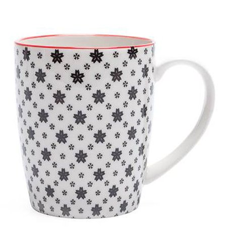Torre & Tagus Kiri Porcelain Mug - White with Black Daisies