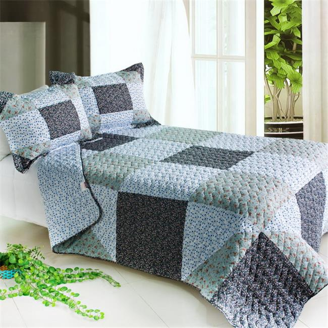 Blancho Bedding QTS01023-23 Simple Life 3 Piece Full/Queen Vermicelli Patchwork Quilt Set