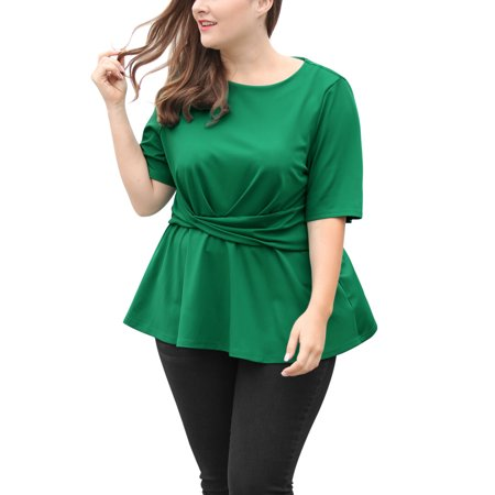 Women's Plus Size Twisted Knot Front Short Sleeves Peplum Top