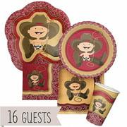 Little Cowboy - Western Party Tableware Plates, Cups, Napkins - Bundle for 16