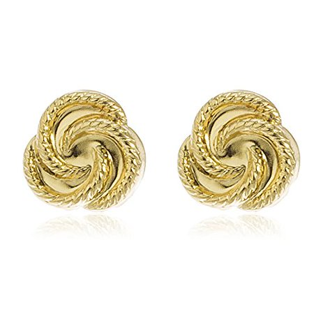 - Real 14k Yellow Gold 9mm Rope Knot Stud Earrings with Silicone Back