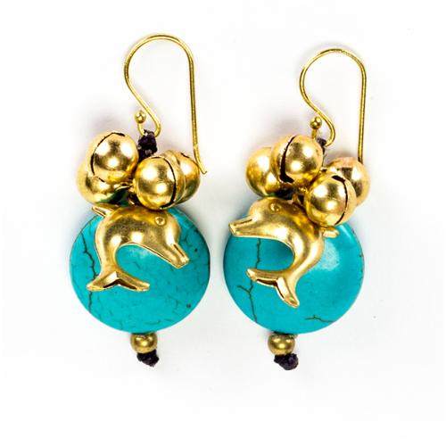 Wink International Goldtone Turqouise and Bead Dolphin Earrings (Thailand)