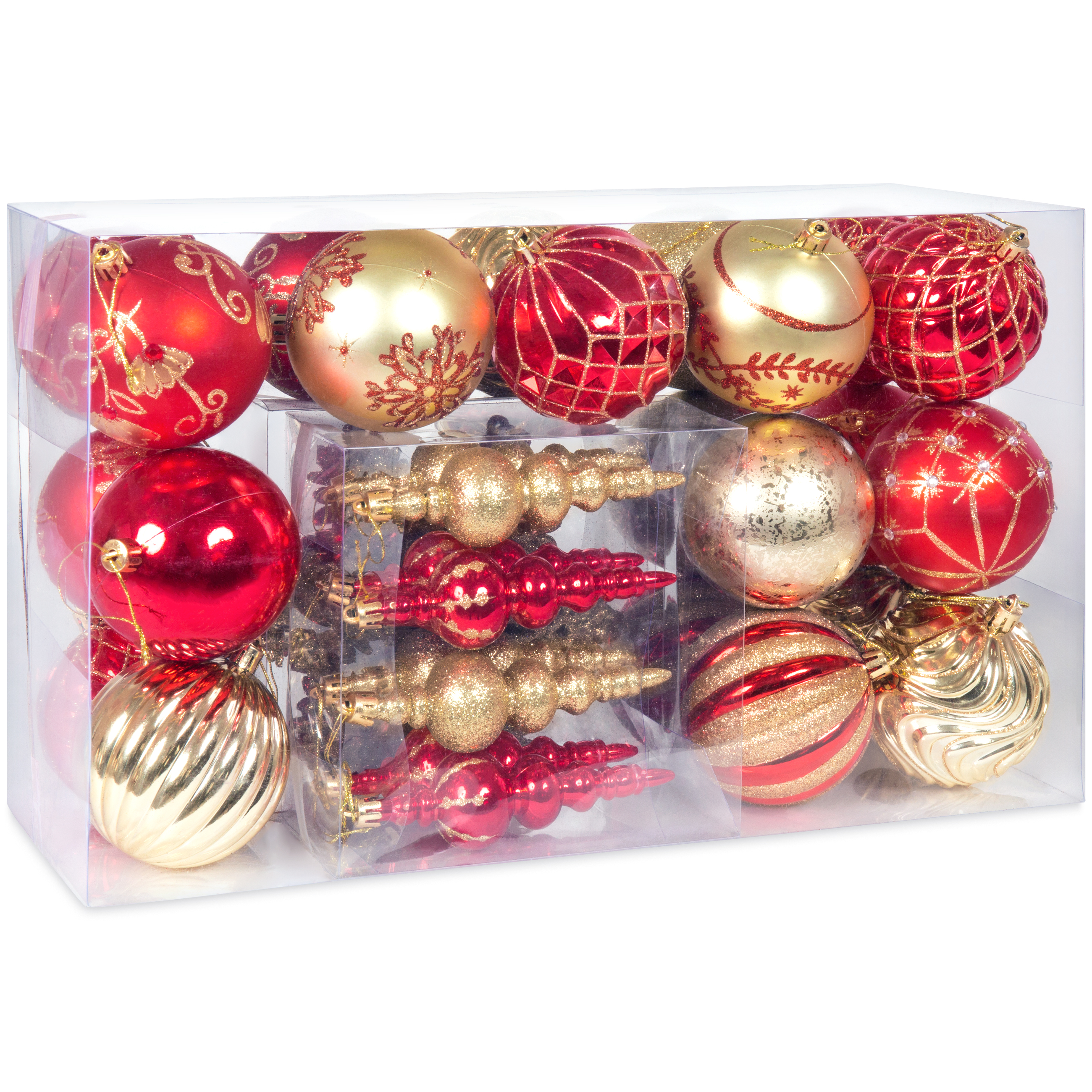 Best Choice Products Handcrafted Luxury Collection Set of 40 Christmas Ball Ornaments (Red & Gold)