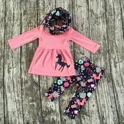 Unicorn Toddler Girls Kids Cotton Tunic Tops Dress Pants Outfits Set Clothes