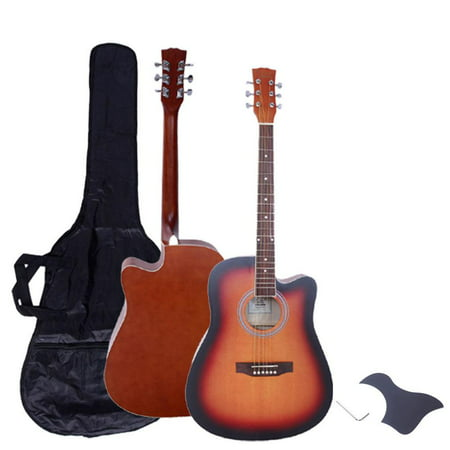 Glarry New 41 inch Adult Glarry Spruce Wood 6 String Cutaway Acoustic Guitar with Bag and (Ibanez Nylon Cutaway Guitar)