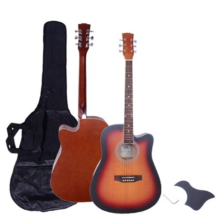 Glarry New 41 inch Adult Glarry Spruce Wood 6 String Cutaway Acoustic Guitar with Bag and More