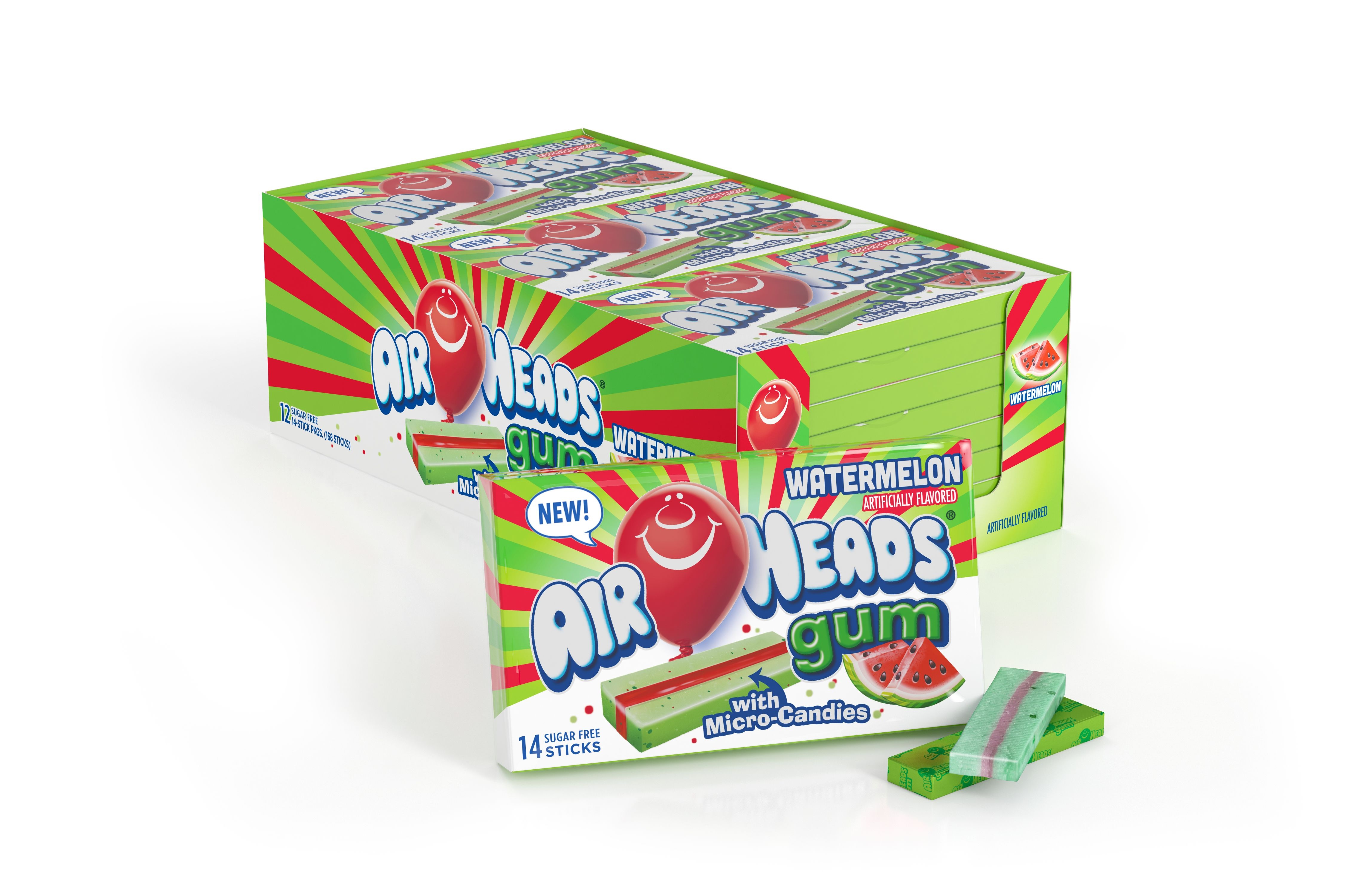 Airheads Gum, Watermelon, Sugar Free with Xylitol, 14 Sticks (Pack of 12)