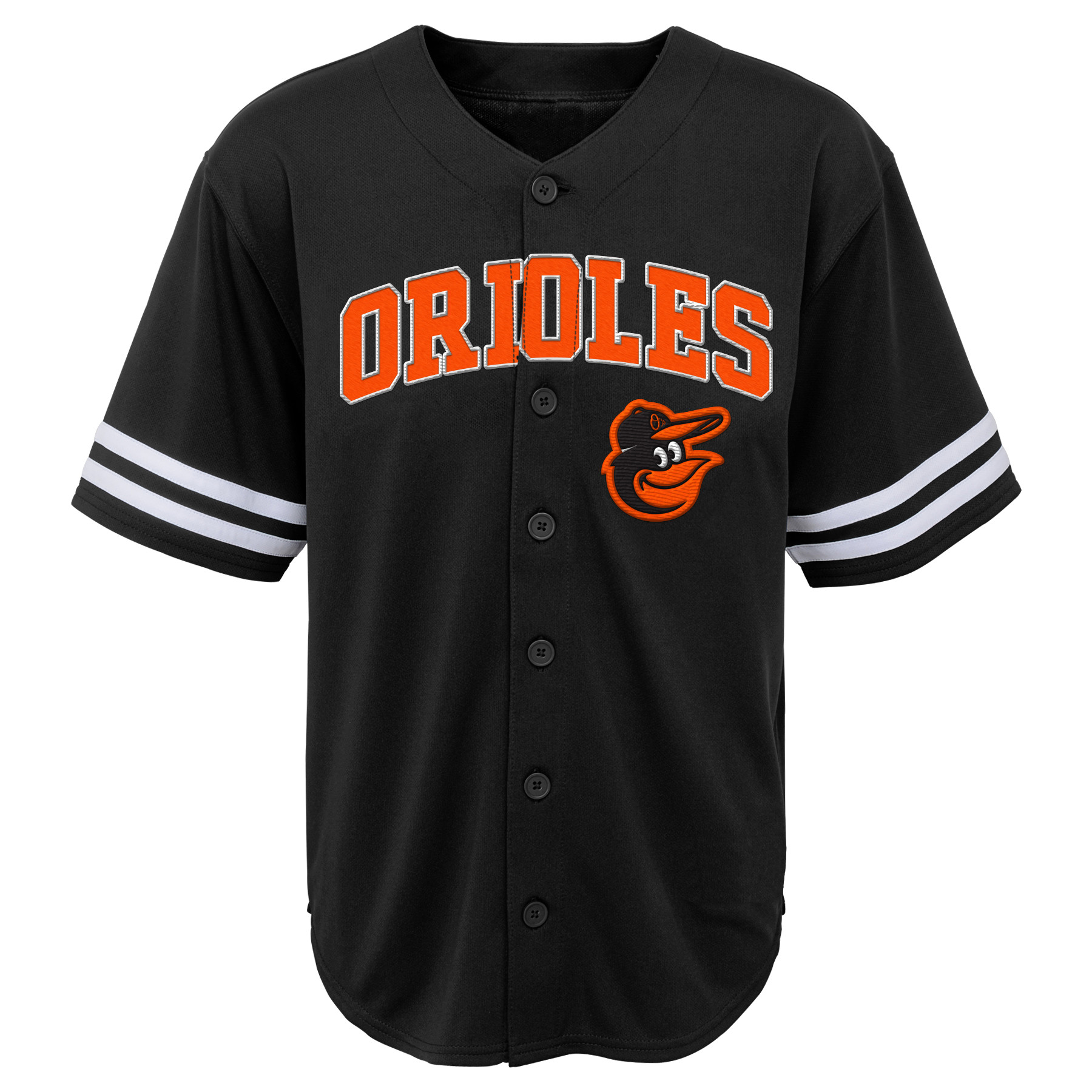 MLB Baltimore ORIOLES TEE Short Sleeve Boys Fashion Jersey Tee 60% Cotton 40% Polyester BLACK Team Tee 4-18