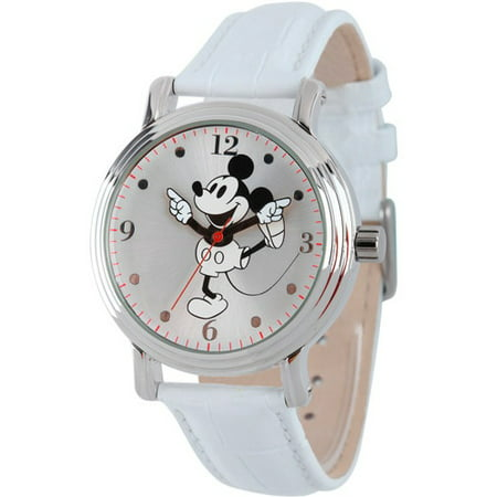 Women's Shinny Silver Vintage Articulating Alloy Case Watch, White Leather Strap