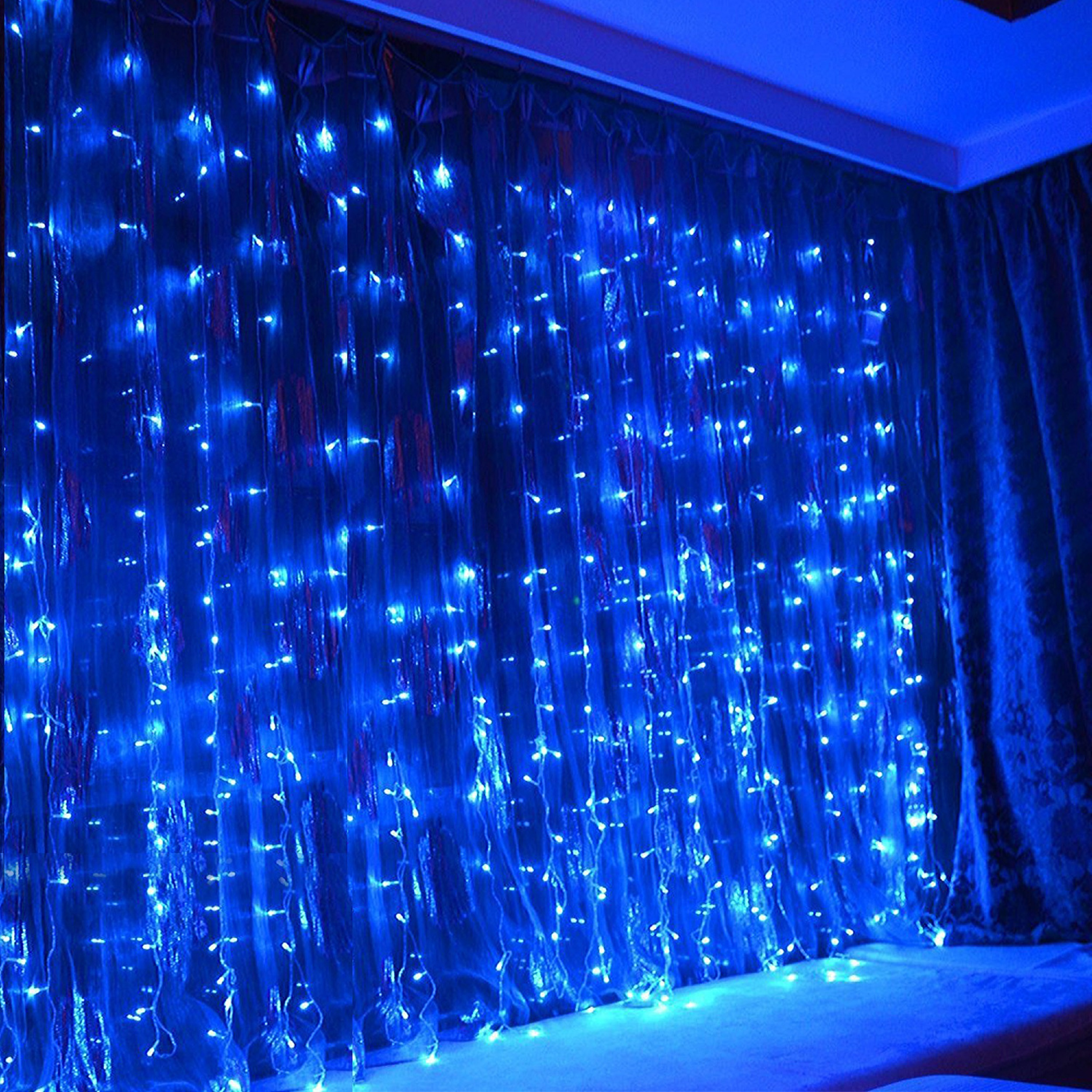 TORCHSTAR 9.8ft x 9.8ft LED Curtain Lights, Starry Christmas String Light, Indoor/Outdoor Decoration for Festival, Wedding, Party, Living Room, Bedroom, Blue