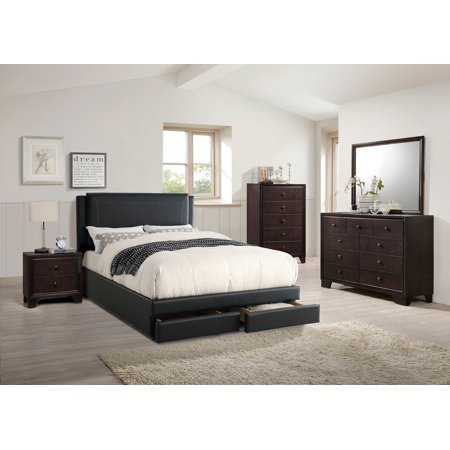 Modern Black Bonded Leather Accent Side Panel Hb Queen Size Bed Dresser Mirror Nightstand 4pc Set Pine Wood Bedroom Furniture