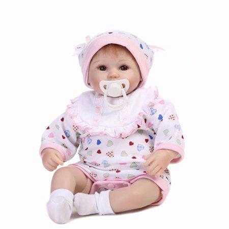 "Akoyovwerve Reborn Baby Doll Simulation Soft Silicone vinyl 16"" Lovely Lifelike Cute Baby Girl Birthday Christmas gift"