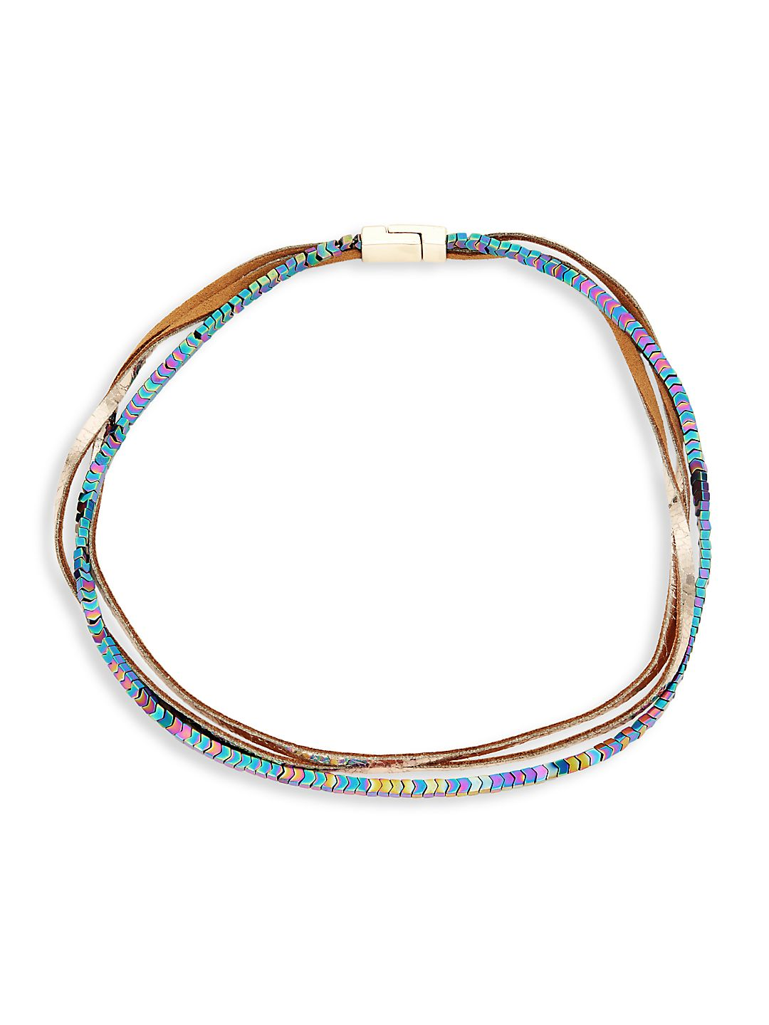 Goldtone and Leather Multicolor Crystal Necklace