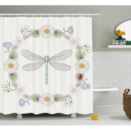 Dragonfly Shower Curtain, Vintage Retro Farm Life Inspired Moth with Daisies Lilies Leaves Image, Fabric Bathroom Set with Hooks, Lilac Green, by