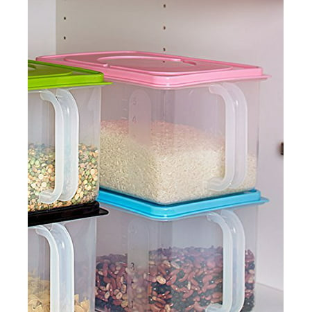 Bulk Storage Handled Bins (Pink), Perfect for rice, flour and other pantry staples By The Lakeside Collection ()
