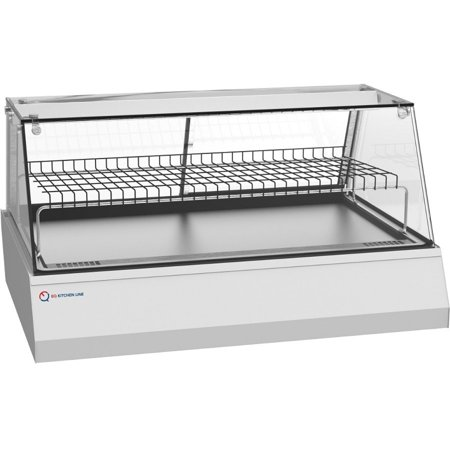 EQ Kitchen Line Commercial Heated Countertop Hot Display Case Stainless Steel Base Cabinet, Silver