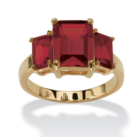 Emerald-Cut Birthstone 3-Stone Ring 18k Gold-Plated - December- Simulated Blue Topaz