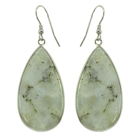 Labradorite Link Earrings (Sterling Silver Organic Shape Labradorite)