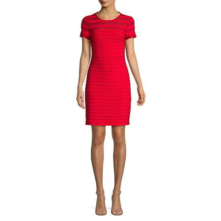 Pintuck Jersey Dress Adrianna Papell Flutter Sleeve