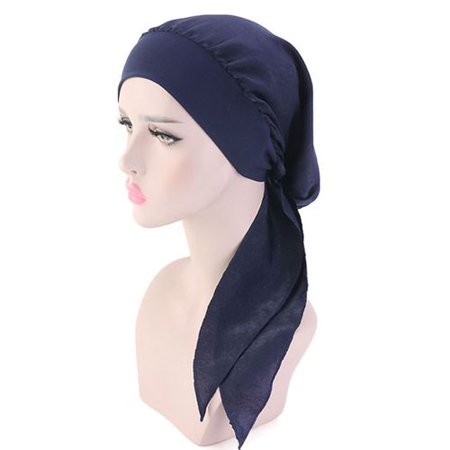 KABOER 1 PCS Muslim Stretch Hair Band Tweezers Solid Color Silk Scarf Hat ()