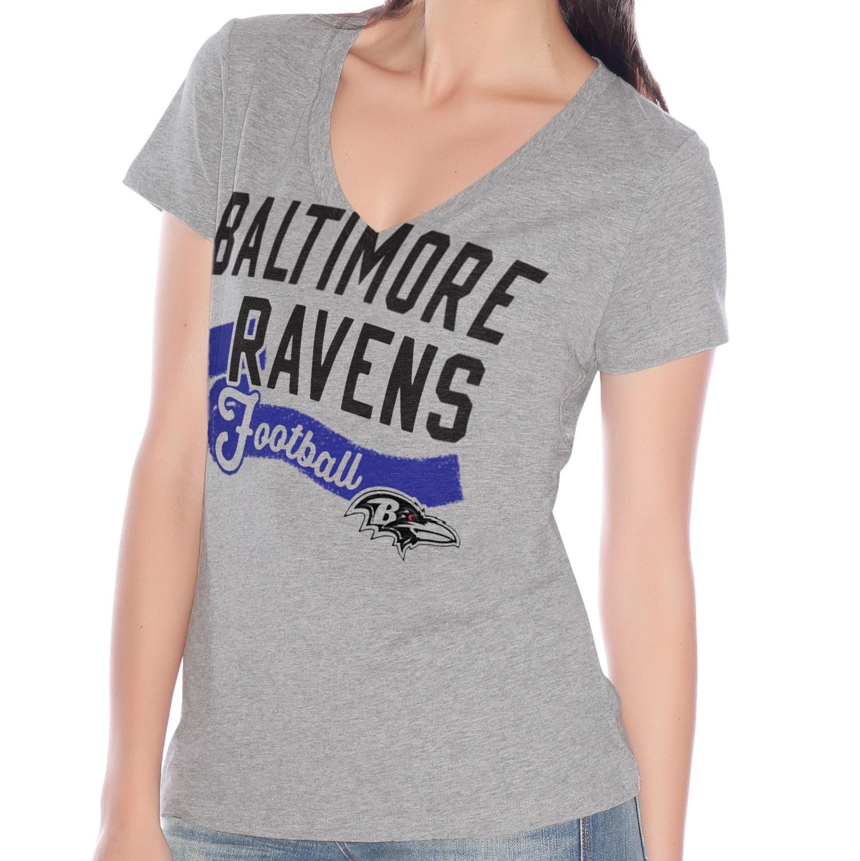 "Baltimore Ravens Women's G-III NFL ""Scout Team"" V-neck Grey T-shirt"