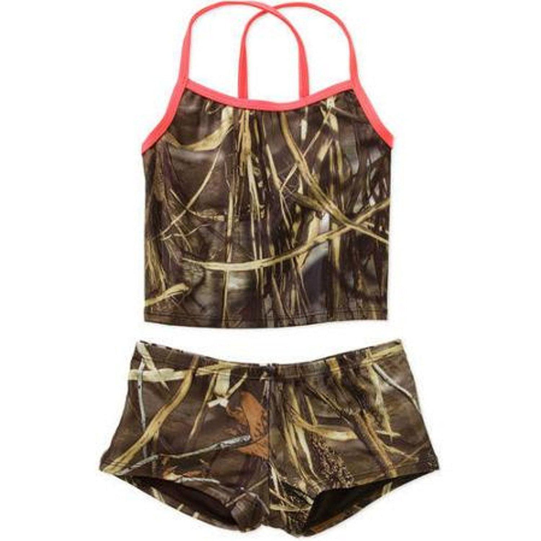 Camo Girls Tankini Swimsuit Size M 7/8, 85% Polyester, 15...