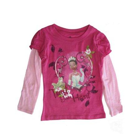 Little Girls Fuchsia Pink Princess and The Frog Long Sleeve Shirt (Frog Long Sleeve Shirt)