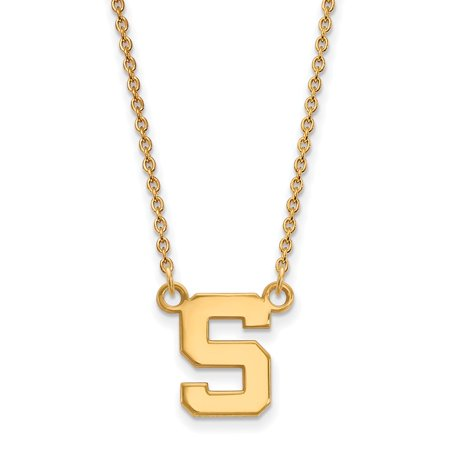 Michigan Outdoor Pendant - Solid 925 Sterling Silver with Gold-Toned Michigan State U Small Pendant with Necklace (10mm)